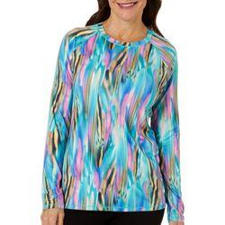 Reel Legends Womens Keep It Cool Watercolor Stripe Top