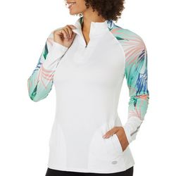 Reel Legends Womens Keep It Cool Elegant Palms Zip Top