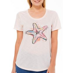 Reel Legends Womens Colorful Starfish Graphic T-Shirt