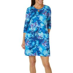 Reel Legends Womens Keep It Cool Misty Palms Keyhole Dress