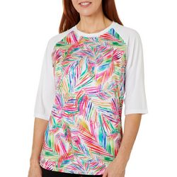 Reel Legends Womens Keep It Cool Jazzy Palms Panel Top