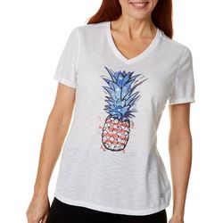 Reel Legends Womens Patriotic Pineapple Graphic T-Shirt