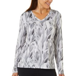 Reel Legends Womens Reel-Tec Layered Leaves Long Sleeve Top