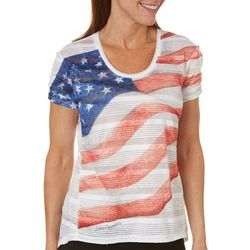 Reel Legends Womens God Bless American Flag Top
