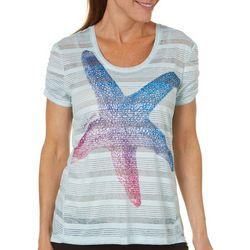Reel Legends Womens Keep It Cool Striped Starfish Top