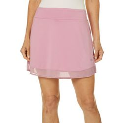 Reel Legends Womens Elite Comfort Solid Mesh Overlay Skort