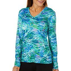 Reel Legends Womens Reel-Tec Tropical Stripe Long Sleeve Top
