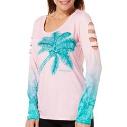 Reel Legends Womens Keep It Cool Palm Trees Caged Top