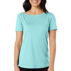 Reel Legends Womens Keep It Cool Solid Boat Neck Top