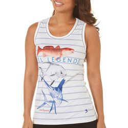 Reel Legends Womens Keep It Cool Striped Fish Trio Tank Top