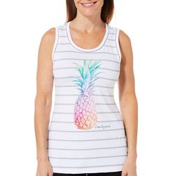 Reel Legends Womens Keep It Cool Pineapple Striped Tank Top