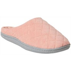 Dearfoams Womens Quilted Terry Memory Foam Clog Slippers