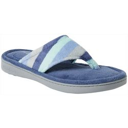 Womens Terry Stripe Thong Slippers