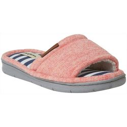 Dearfoams Womens Heathered Knit Memory Foam Slide Slippers