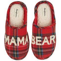 Dearfoams Womens Plaid Momma Bear Slide Slippers