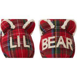 Dearfoams Kids Unisex Lil Bear Plaid Scuff Slippers