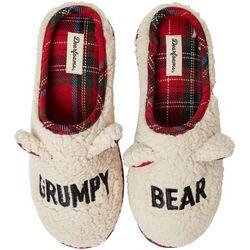 Dearfoams Unisex Curly Pile Grumpy Bear Slide Slippers