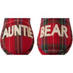 Dearfoams Womens Plaid Auntie Bear Slide Slippers