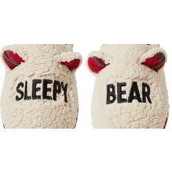Dearfoams Unisex Curly Pile Sleepy Bear Slide Slippers