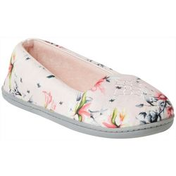 Dearfoams Womens Rebecca Floral Closed Back Slippers