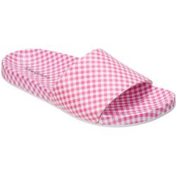 Dearfoams Womens Plaid Poolside Slide Slippers