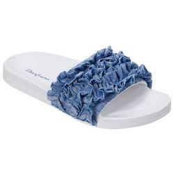 Dearfoams Womens Denim Ruffle Poolside Slide Slippers