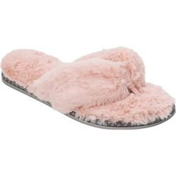 Dearfoams Womens Plush Thong Slide Slippers