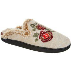 Dearfoams Womens Floral Embellished Slide Slippers