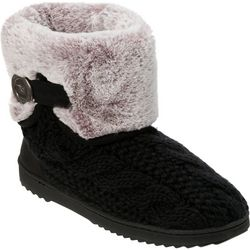 Dearfoams Womens Cable Knit Bootie Slippers
