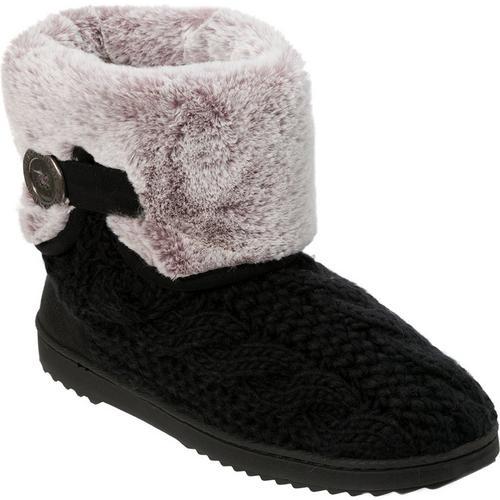 f077d275b97f Dearfoams Womens Cable Knit Bootie Slippers