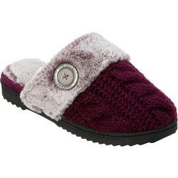 Dearfoams Womens Cable Knit Slide Slippers