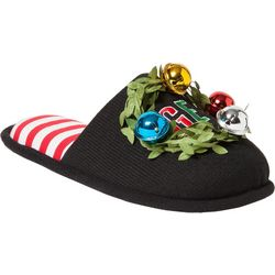 Dearfoams Womens Get Lit Jingle Bell Slide Slippers