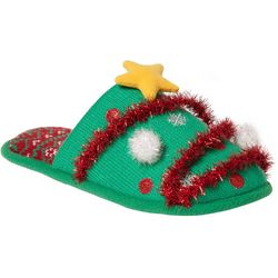 Dearfoams Womens Tinsel Tree Slide Slippers