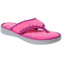 Dearfoams Womens Quilted Terry Thong Slide Slippers
