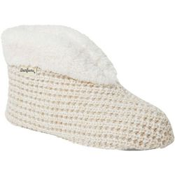 Dearfoams Womens Textured Knit Bootie Slippers