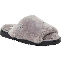 Dearfoams Womens Plush Faux Shearling Slide Slippers