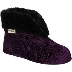 Dearfoams Womens Paisley Velour Bootie Slippers