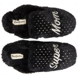 Dearfoams Womens Super Mom Fluffy Scuff Slippers