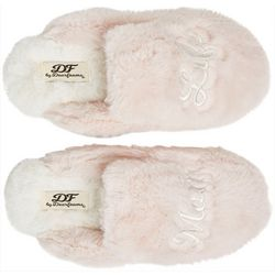Dearfoams Womens Mom Life Fluffy Scuff Slippers
