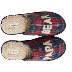 Dearfoams Mens Papa Bear Plaid Slippers