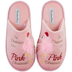 Olivia Miller Womens Pink Christmas Flamingo Slippers