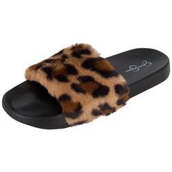Womens Leopard Faux Fur Slide Slippers