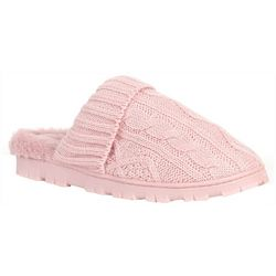 Womens Cable Knit Scuff Slippers With Socks