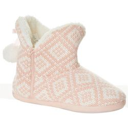 Jessica Simpson Womens Diamond Knit Bootie Slippers