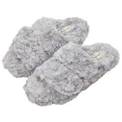 Jessica Simpson Womens Open Toe Fluffy Faux Fur Slippers