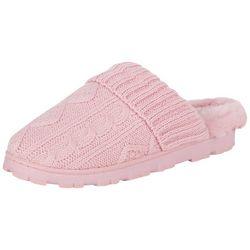 Jessica Simpson Womens Knit Faux Fur Slippers