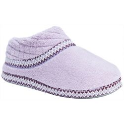 Muk Luks Womens Micro Chenille Embroidered Bootie Slippers