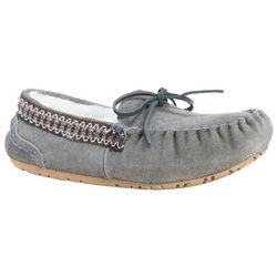 Muk Luks Womens Grey Suede Moccasin Slippers