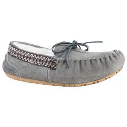Womens Grey Suede Moccasin Slippers