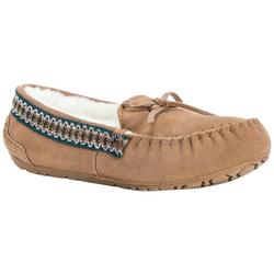 Womens Light Brown Suede Moccasin Slippers